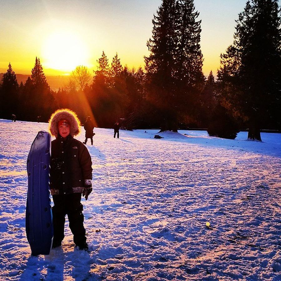Burnaby Mountain Burnaby BC 💞💞 my little man 💞💞 Burnabybc Mylittleman  Snow Sledding sunset sled trees fun bff minime love hesjustlikeme burnabymountain theygrowtoofast parentingdoneright