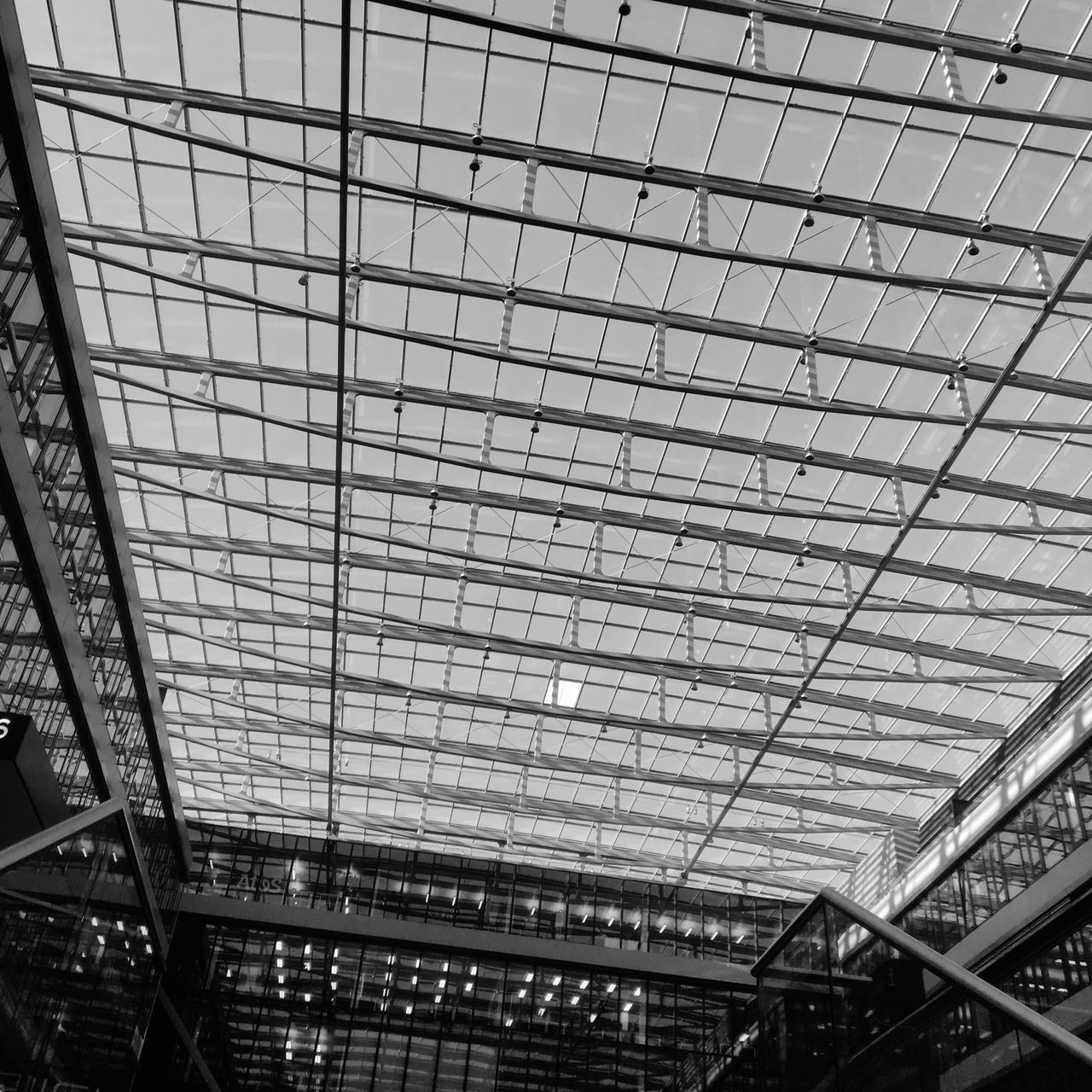 Architecture Built Structure Ceiling Low Angle View Indoors  Modern Building Atrium Glass Glass - Material Frankfurt Am Main Squaire