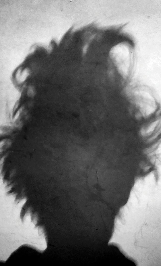 B&W Portrait shadow of my hair first thing in the morning 😮