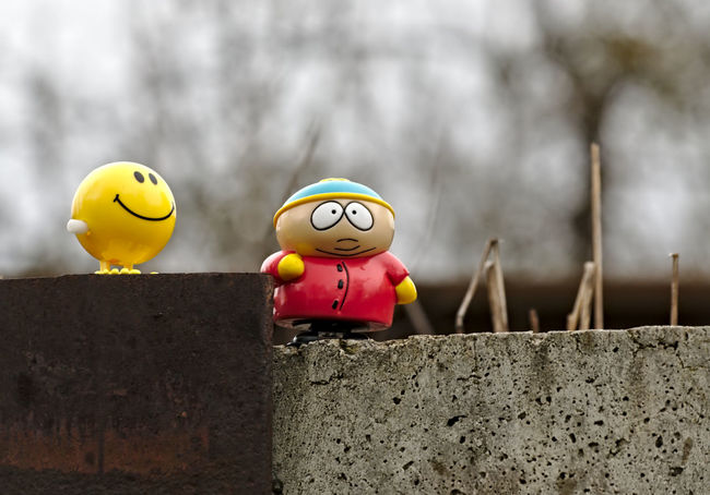 Best Friends Cartman Close-up Creativity Day Focus On Foreground Grey Sky Nature Nikon No People Outdoor Photography Railway Rainy Days Red Selective Focus Showcase April Smily Southpark Still Life Toy Toy Adventures Yellow