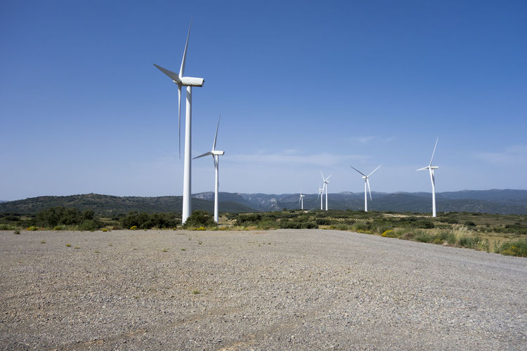 Alternative Energy Barracas Blue Castellón Day Environmental Conservation Fuel And Power Generation Grass Industrial Windmill Landscape Nature No People Outdoors Renewable Energy Road Rural Scene Sky Technology Traditional Windmill Wind Power Wind Turbine Windmill
