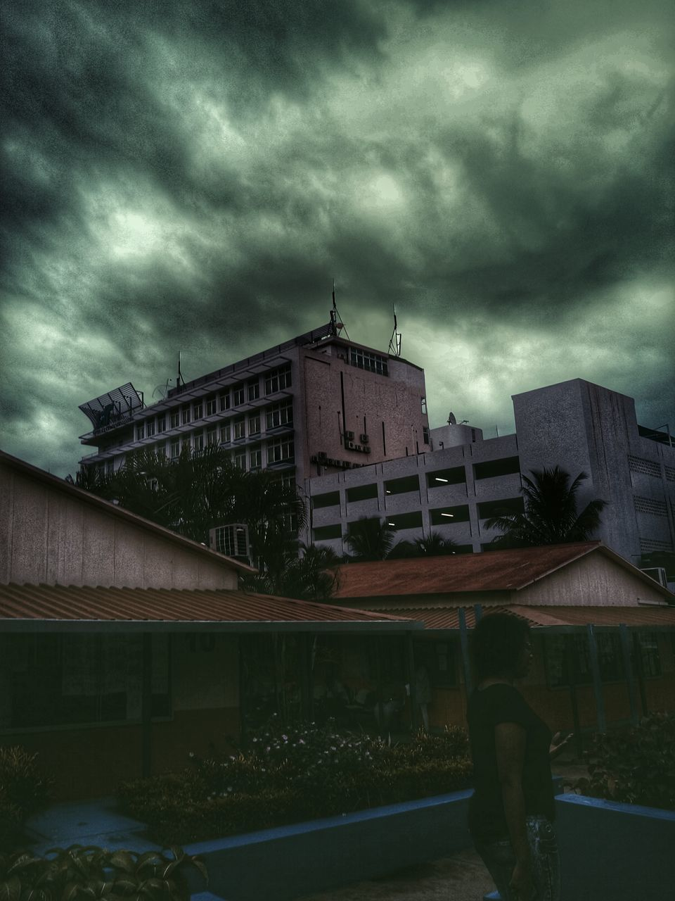 architecture, cloud - sky, storm cloud, sky, built structure, weather, building exterior, storm, no people, outdoors, thunderstorm, city, day, nature