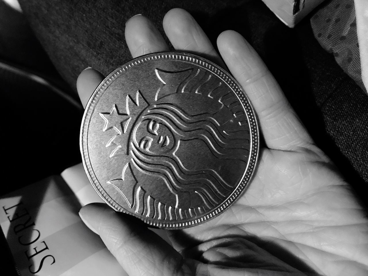 Blackandwhite Black & White Blackandwhite Photography Black And White Photography Human Hand Human Body Part One Person Holding Real People Indoors  Unrecognizable Person Pattern Food And Drink Men Close-up Food One Man Only Day Ready-to-eat People Adult Starbucks Coin Chocolate