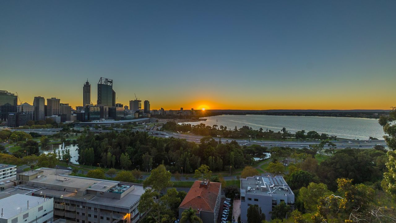 Sunrise at Perth city Western Australia view from Kings Park And Botanical Garden Swan River