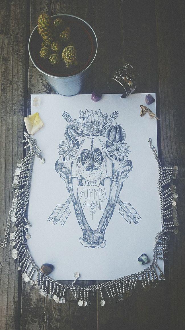 Summerstone Art Create Illustration POTD Fineliner Love Bohemian Skulls Cougar Cactus Plants Nature Animal Melbourneartists Artist Dotwork Australia Ishka Gemstones Createdaily Inspire