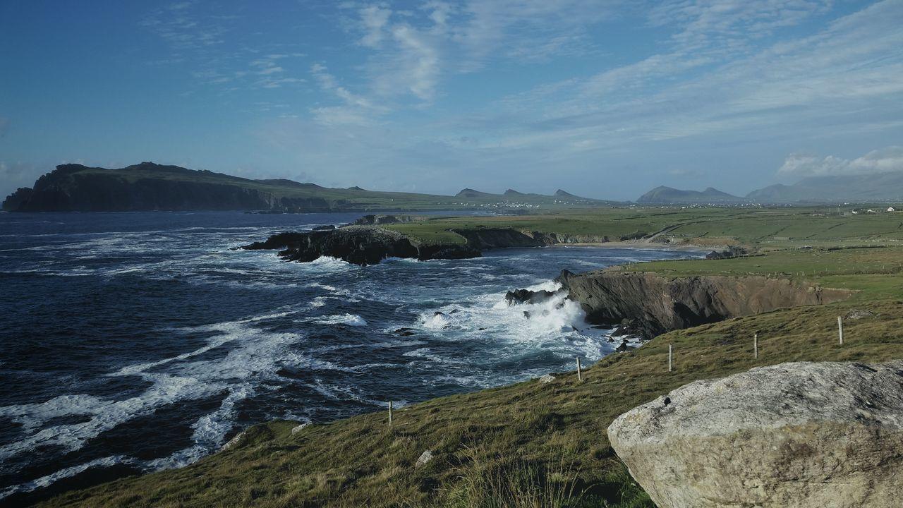 Waves Atlantic Ocean Ireland Coastline Holiday Travel