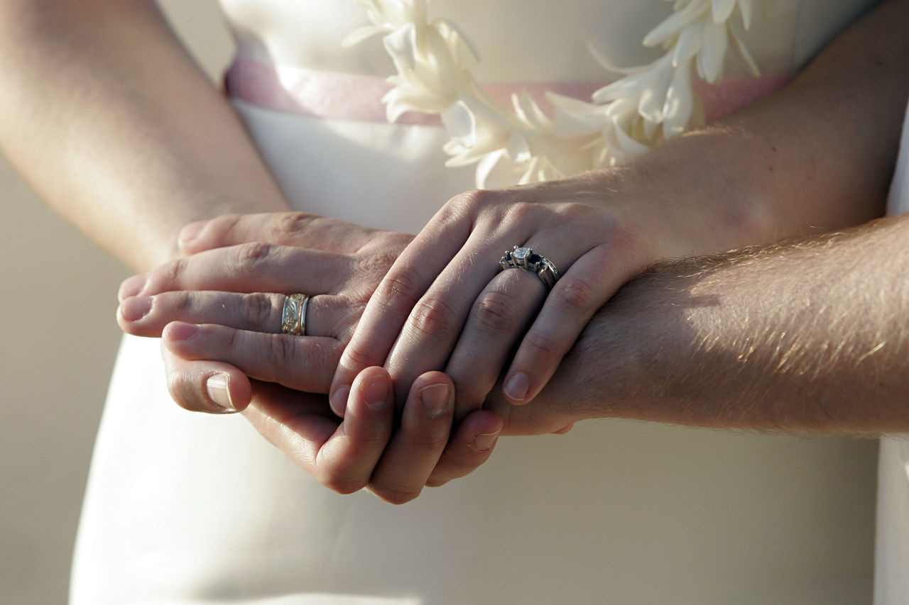 Adult Bonding Bride Bridegroom Close-up Connection Engagement Ring Exchanging Human Body Part Human Hand Indoors  Lifestyles Love Men Ring Romance Togetherness Touching Two People Unity Wedding Wedding Ceremony Wedding Ring Wife Women
