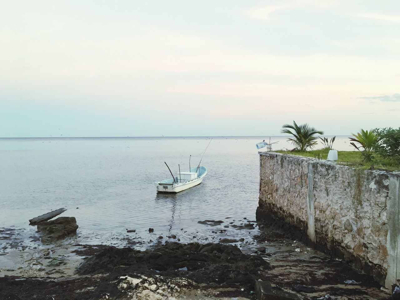 water, sea, nature, beauty in nature, nautical vessel, tranquility, horizon over water, transportation, scenics, sky, mode of transport, tranquil scene, no people, outdoors, beach, day, moored