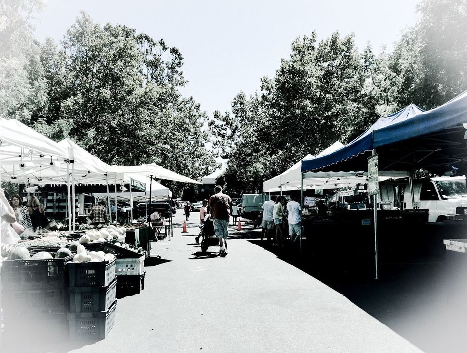 Fatherhood Moments Father Father & Son Baby Stroller Walking Tents Booths Produce Food Farm Markets San Francisco Bay Area California Father And Daughter Heart Heart Shape Trees Food Basket Black And White People And Places