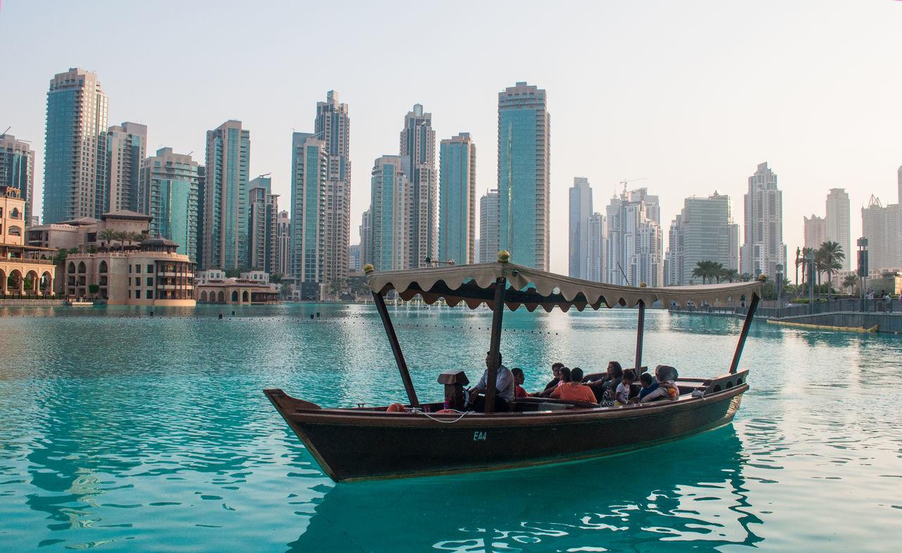 Acqua Architecture Barça Blue Boat Building Canal Culture Dubai Dubai Emirati Arabi Grattacieli Mode Of Transport People Persone Skyline Water Up Close Street Photography