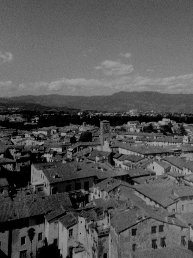 View from The Leaning Tower of Pisa // 2013 Italy Pisa The Leaning Tower Of Pisa Grain Landscape Blackandwhite Mountains City