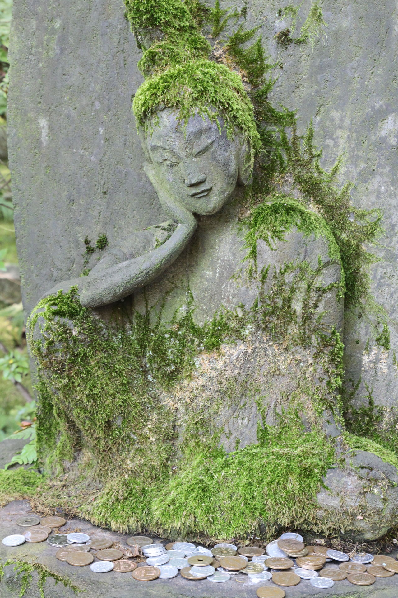 Making wishes Boddhisattva Buddha Close-up Good Luck Green Japan Money Moss Moss & Lichen Nature No People Outdoors Peace Peace And Quiet Relief Relief Sculpture Resting Sculpture Statue Stone Wish Wishes Yoga Yoga Pose Zen