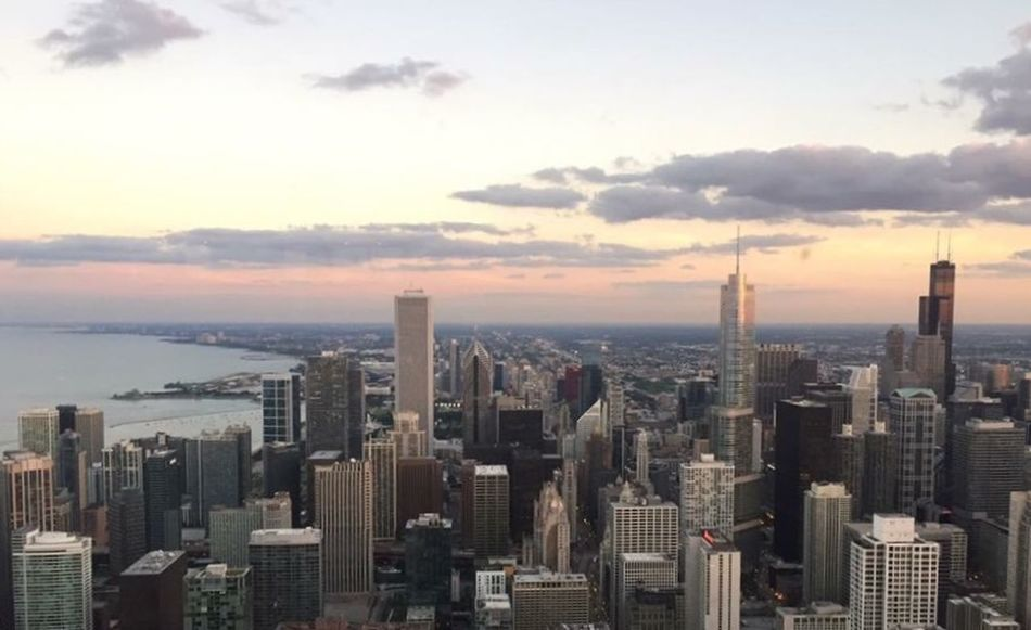 Amazing View Chicago Cityscapes City Sunset Clouds And Sky