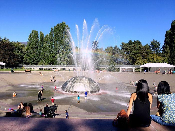 Fountain Spraying Water Park Tree Seattle Memories Large Group Of People