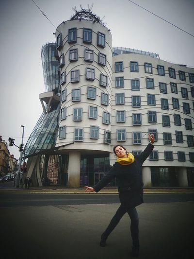 Prague, Czech Republic. One Woman Only City Architecture Building Exterior Travel Destinations Built Structure Dancing House Synchronize Modern Architecture Prague EyeEmNewHere Lost In The Landscape