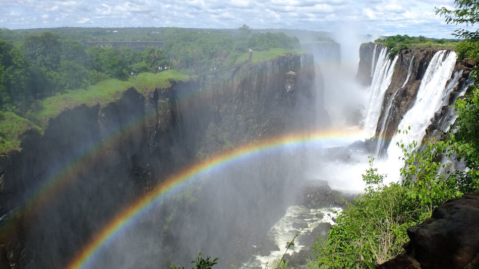 Victoria Falls, Zambia Side Africa Beauty In Nature Exploring Idyllic Majestic No People Outdoors Panorama Power In Nature Rainbow Scenics Traveling Victoria Waterfalls Waterfall Zambia