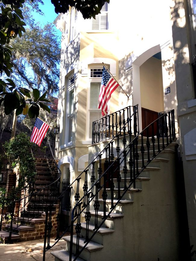 Historic House Low Angle View Stairway American Flag Historic City