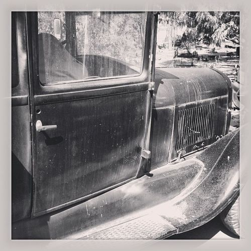 My dad's 1929 Flatbed Ford ...Bullet holes (Prohibition?!) and all. antique getawaycar
