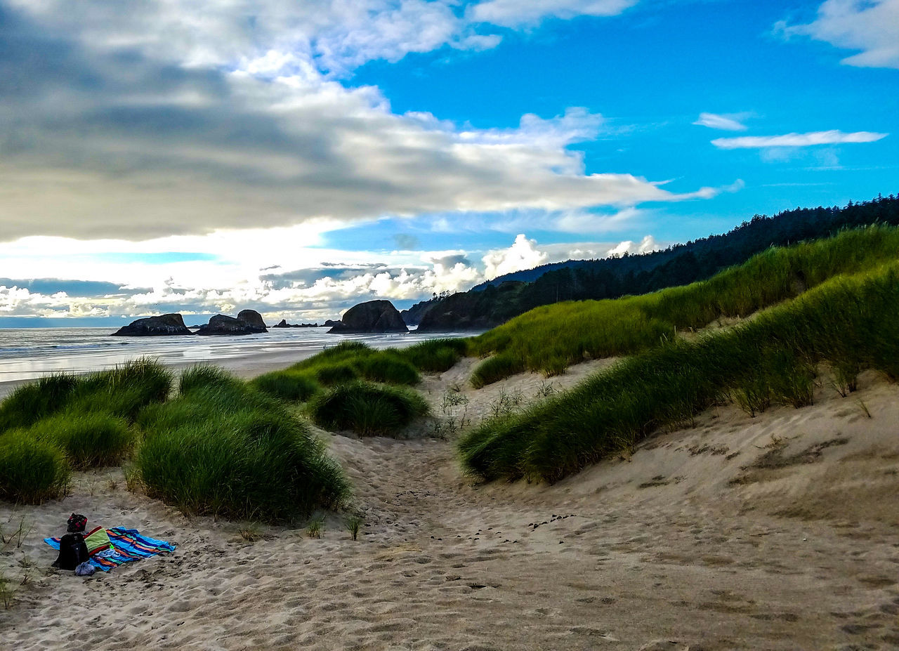 Coastline at Cannon Beach, Oregon Sand Beach Sky Nature Scenics Outdoors Day Water Vacations No People Mountain Beauty In Nature Wave Cannon Beach Oregon Travel Saltwater Ocean Rocks Lowtide  EyeEmNewHere Travel Destinations Senic Towel Relaxing EyeEmNewHere Miles Away
