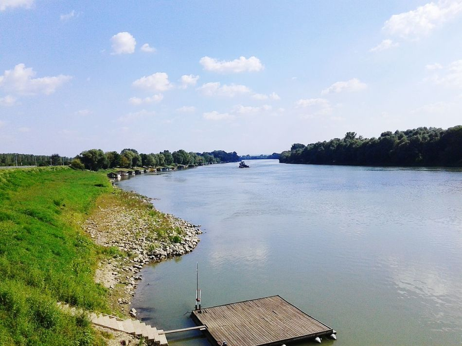 Boat River Croatia Slavonski Brod Sunny Day