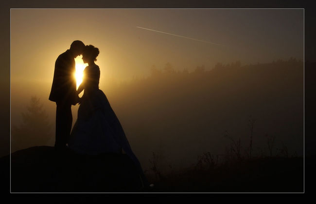 Adult Adults Only Beauty In Nature Bride Bridegroom Men Nature Night Outdoors People Silhouette Sky Sunset Togetherness Two People Wedding Wedding Dress Women Young Adult