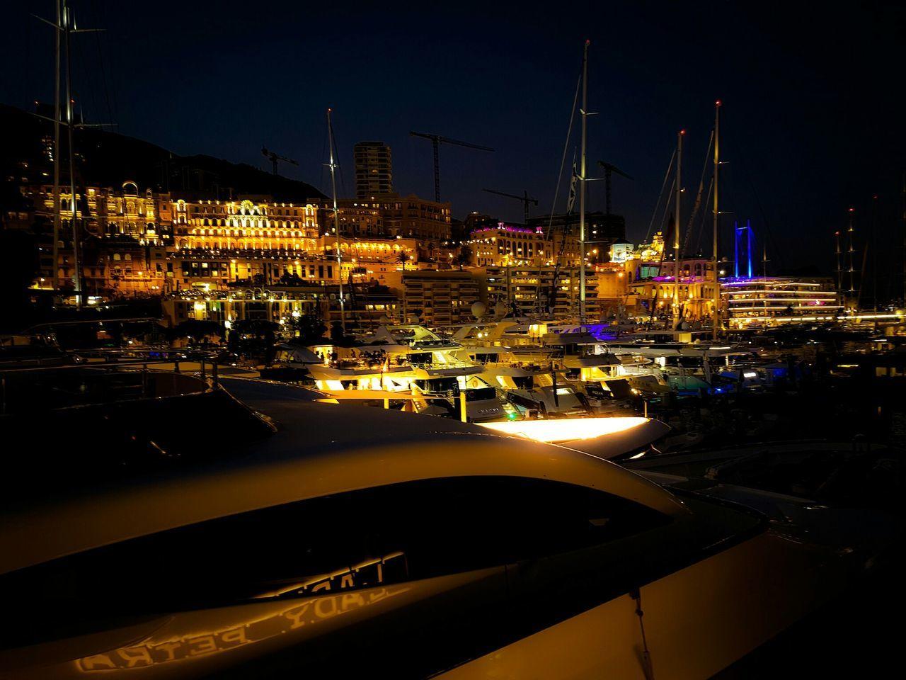 Monaco Yacht Show, Monaco Night Nautical Vessel Harbor Reflection Illuminated Moored Business Finance And Industry Yacht No People Water Sailboat Outdoors Sailing Ship Sky Monaco Monacoyachtshow