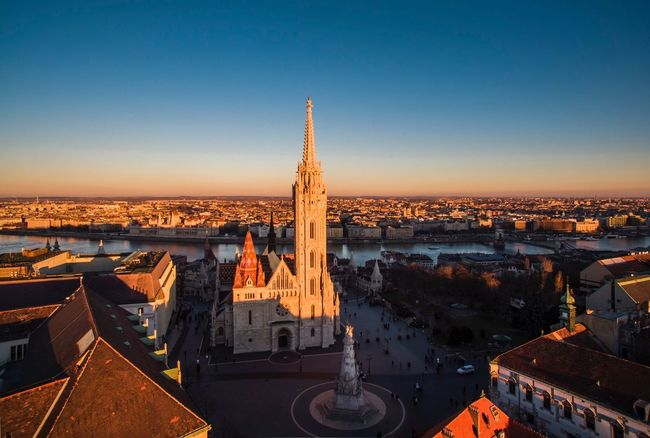 Architecture Built Structure Building Exterior Cityscape City Tower High Angle View Travel Destinations Sunset Outdoors History Clear Sky No People Sky Clock Tower Urban Skyline Day Mathias Church Aerial View Aerial Shot Dronephotography Budapest Budacastle