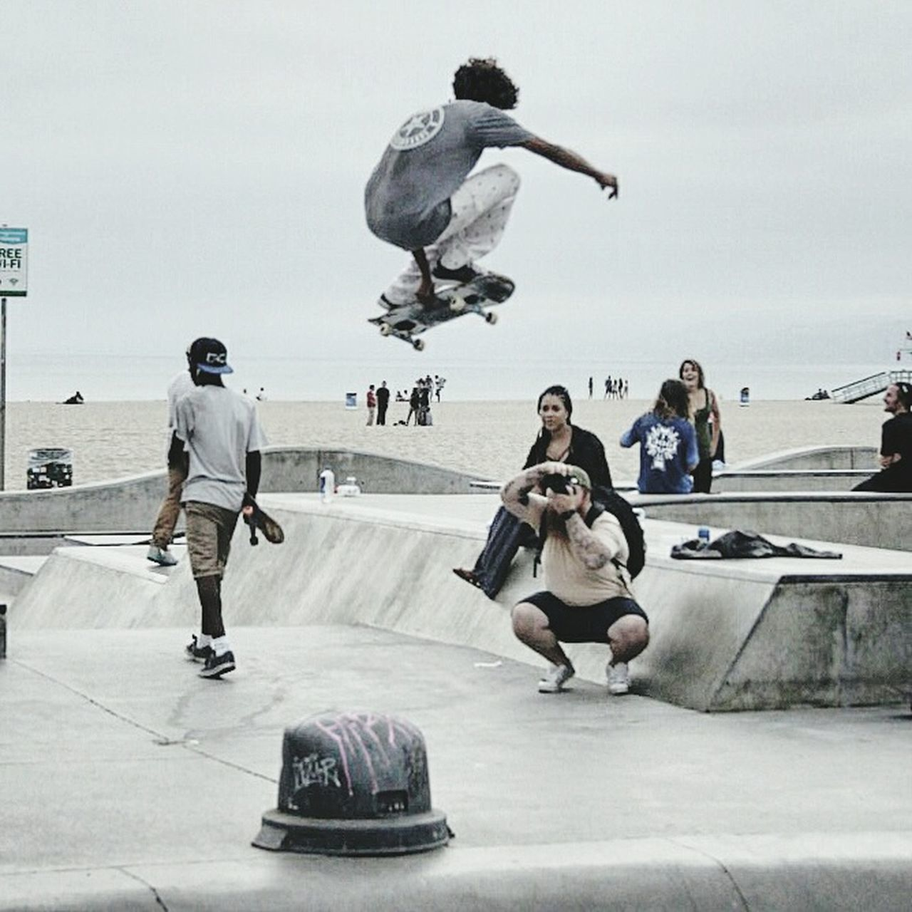real people, large group of people, leisure activity, full length, sport, skateboard, men, lifestyles, day, skateboard park, sports ramp, stunt, sky, extreme sports, outdoors, sculpture, women, skill, competitive sport, ice rink, people, adult
