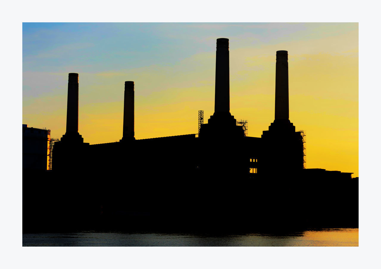 Battersea Power Station In Silhouette Architecture Battersea Power Station Building Exterior Built Structure City Cloud Cloud - Sky Dark Nature No People Orange Color Outdoors Silhouette Silhouettes Of A City Sky Sunset Tourism Travel Destinations