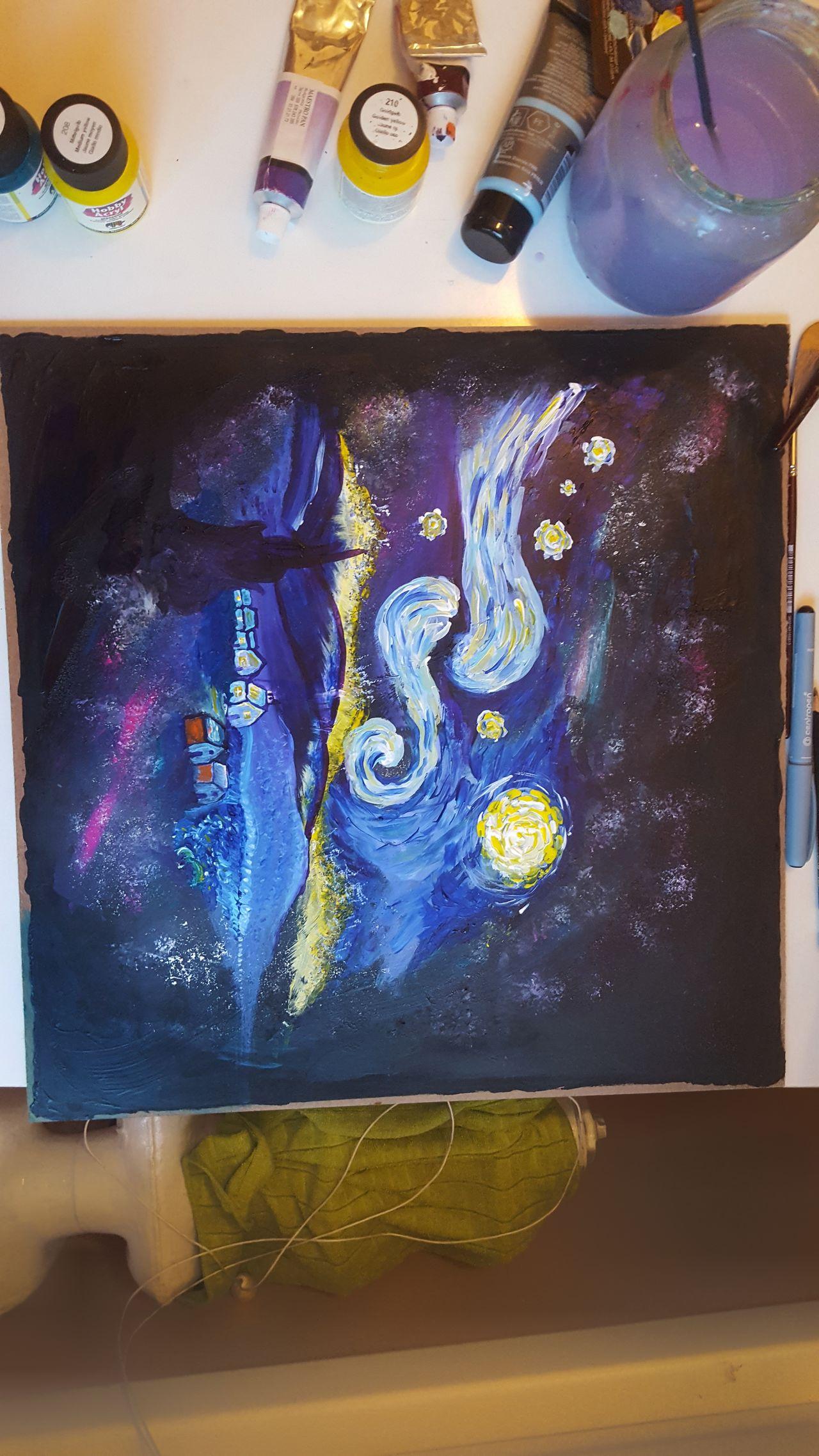Painting Art Van Gogh Space Work In Progress Night Starry Night Messy