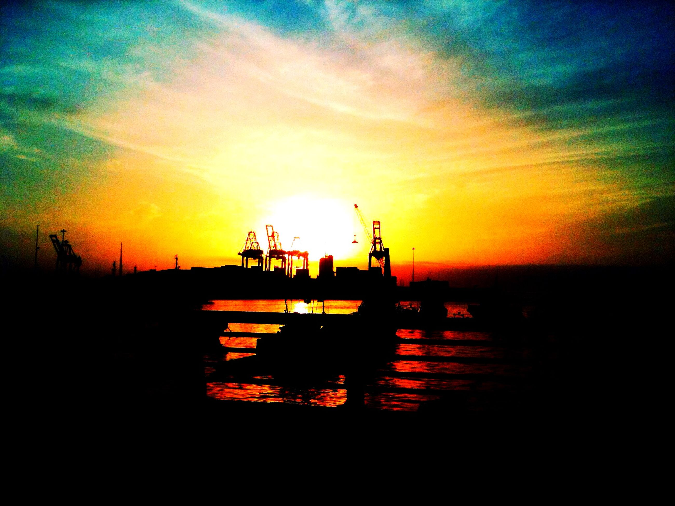 sunset, silhouette, water, orange color, sky, sun, nautical vessel, scenics, beauty in nature, tranquil scene, cloud - sky, sea, tranquility, nature, dramatic sky, boat, idyllic, harbor, reflection, mode of transport