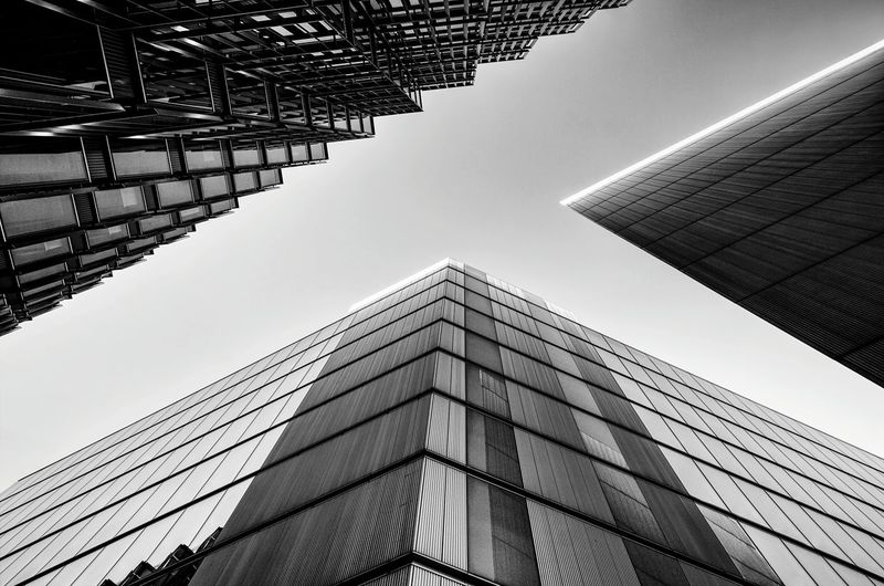 Modern City Architecture Angles Blue Sky Low Perspective Office Building London Architecture London More London Low Angle View EyeEm LOST IN London Black And White Friday