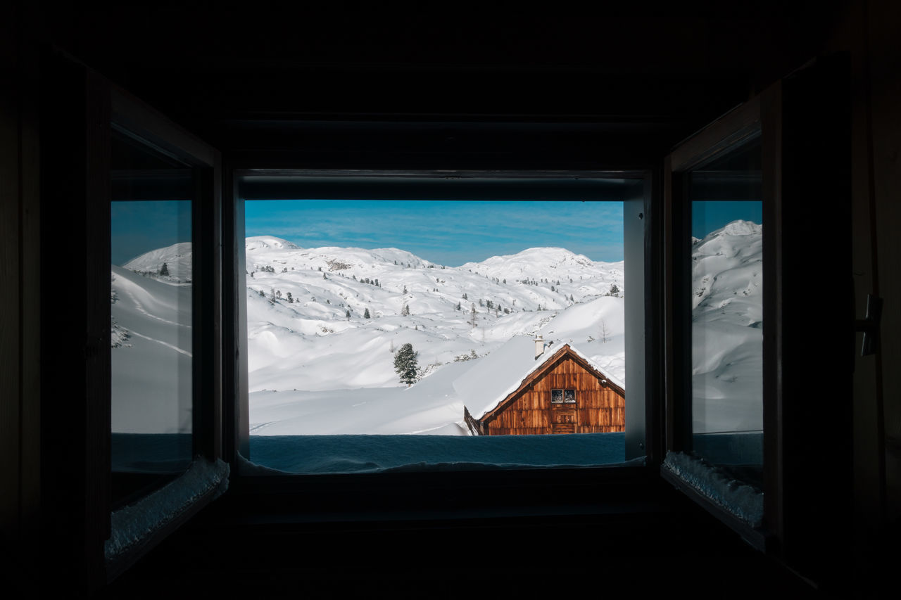 Window... Ski Hut View View From Above View From The Window... Viewpoint View Into Land Cold Temperature Day House Indoors  Landscape Mountain Mountain Range Nature No People Scenics Sky Snow Tranquil Scene Tranquility Window Winter