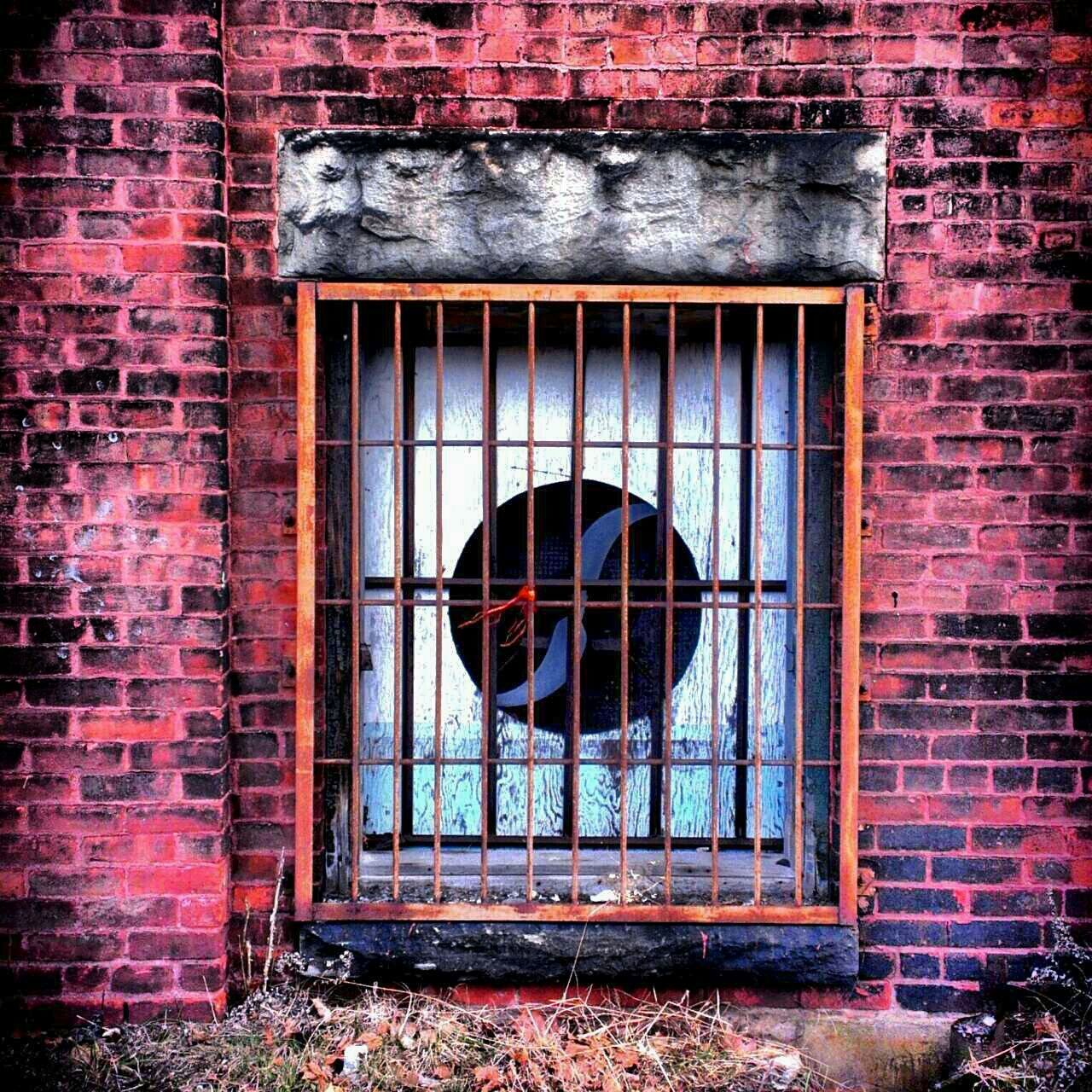 window, brick wall, architecture, built structure, no people, damaged, abandoned, red, building exterior, day, security bar, outdoors, close-up
