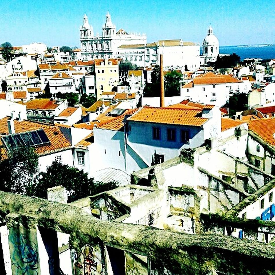 Lisbone Lisbon - Portugal Lisbona, Portogallo, Europa Lisbona Building Exterior Architecture Built Structure High Angle View Travel Destinations Roof Cityscape Place Of Worship Residential Building City Sky Outdoors Clear Sky Religion No People Day Adapted To The City