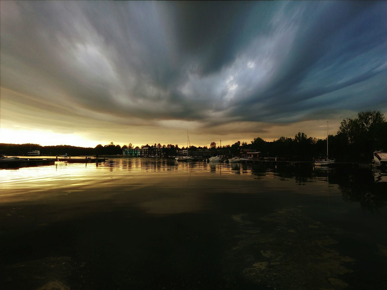 Reflection Lake Water Cloud - Sky Outdoors Vacations No People Beach Sunset Nature Sky Tree Olsztyn Warmia Mazury Polska Poland Ukiel Jezioro