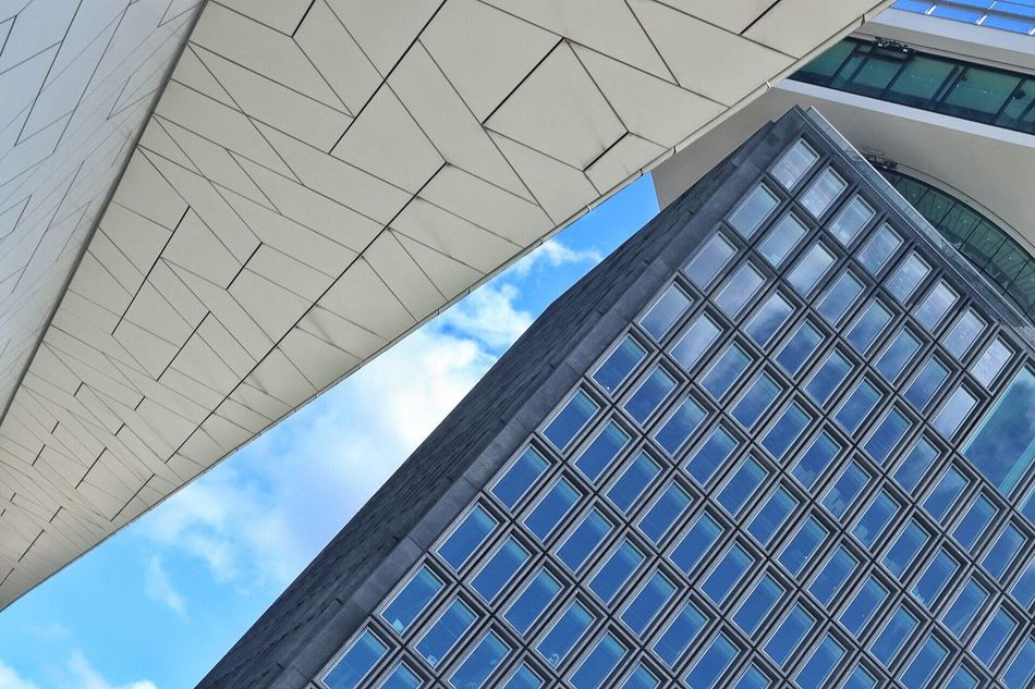 Architecture Low Angle View Building Exterior Built Structure Modern Sky Skyscraper Cloud - Sky City Modern Architecture Modern Building Modern Archictecture Cloudy Day
