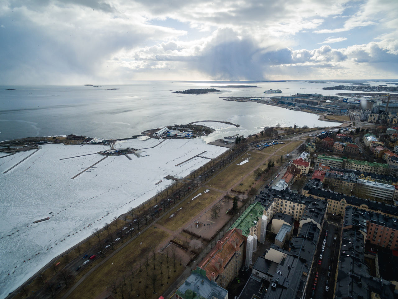 Drone shots from Helsinki on 24th of March 2017. Aerial View Aerospace Industry Air Vehicle Airplane Airport Airport Runway Business Finance And Industry City City City Life Cloud - Sky Dji Drone  Flying High Helsinki House Lights Living Outdoors Sea Spring Top Perspective Top View Transportation Winter