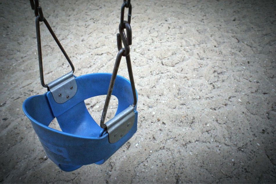 Swing Blue Playground Outdoor Activity Play Activity Social Gathering On A Baby Swing Empty Seat On The Beach Mirrorless Color Palette