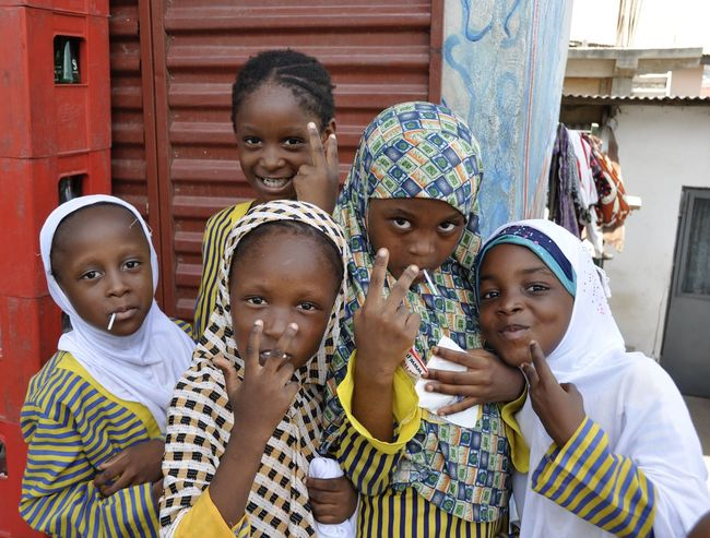 Africa African Bonding Childhood Cute Fun Ghana Ghanaian Girls Happiness Islam Looking At Camera Muslima Muslims Portrait Smiling Togetherness Showcase April