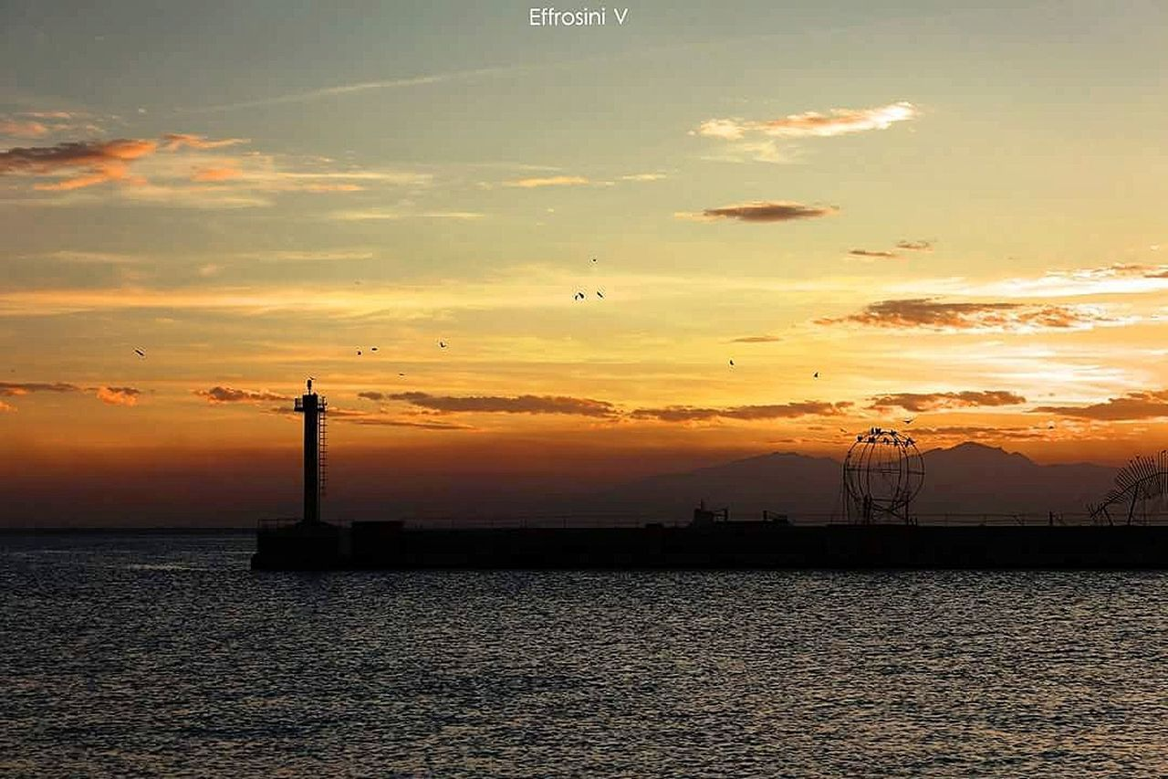 Sunset Cloud - Sky Harbor Sea Nature Tranquility No People Water City GREECE ♥♥ CityWalk Street Photography Thessaloniki Walks Beauty In Nature Clear Sky Canon700dphotography