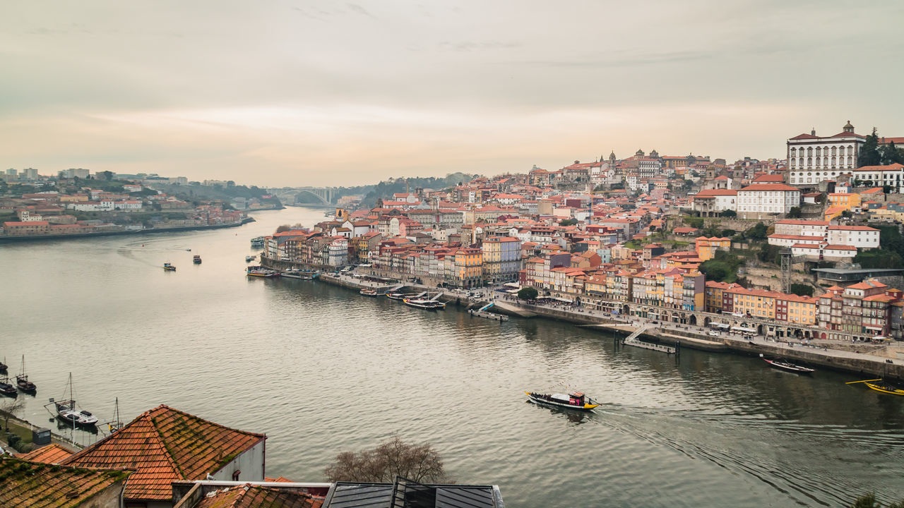 Aerial View Architecture Bridge - Man Made Structure Building Exterior City Cityscape Cloud - Sky Colourful Day Houses Nautical Vessel Outdoors Porto River Riverside Sky Sunset Travel Destinations Urban Skyline Water