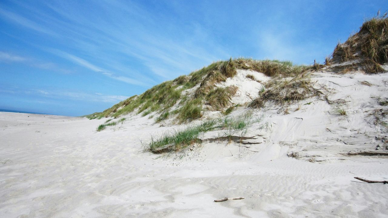 Sand Sand Dune Beach Blue Nature Sky Outdoors No People Landscape Day Beauty In Nature Marram Grass Denmark Danmark Hvide Sande EyeEmNewHere Beach Photography Grass Grassy Grassy Dunes Grassy Beach Grassy Hillside Beachside Copy Space