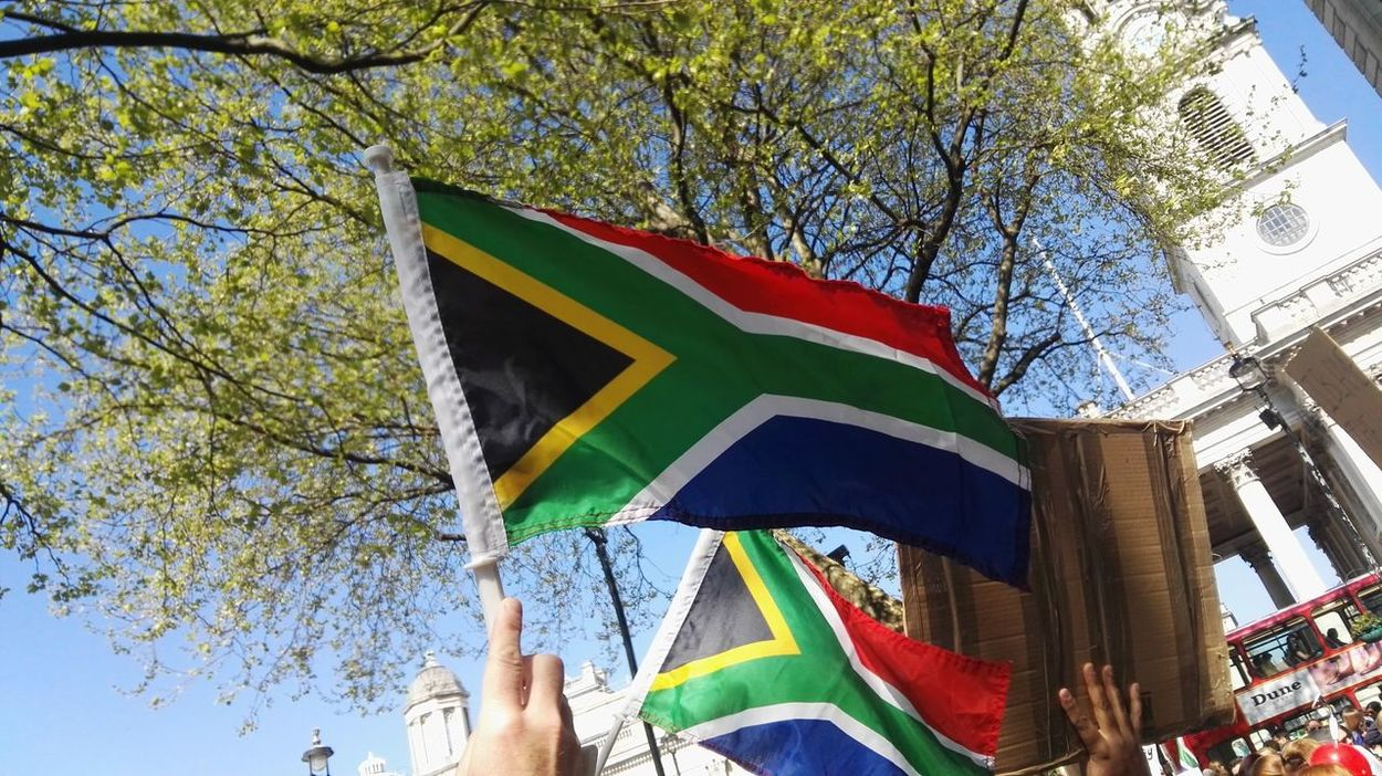 South Africa 🇿🇦 London Protest South Africa Is Amazing South African Flag Outdoors South Africa House Trafalgar Square