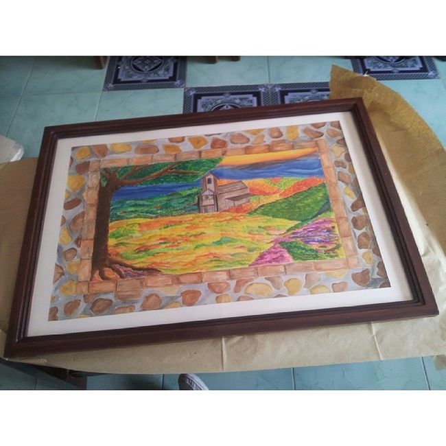 """At last, t'was already framed. 24""""x36"""" Countryside. and was able to deliver it to the client :) hope more blessings to come. Art Pinoy Pinoyartist Asianartist watercolor painting art itsmorefuninthephilippines"""