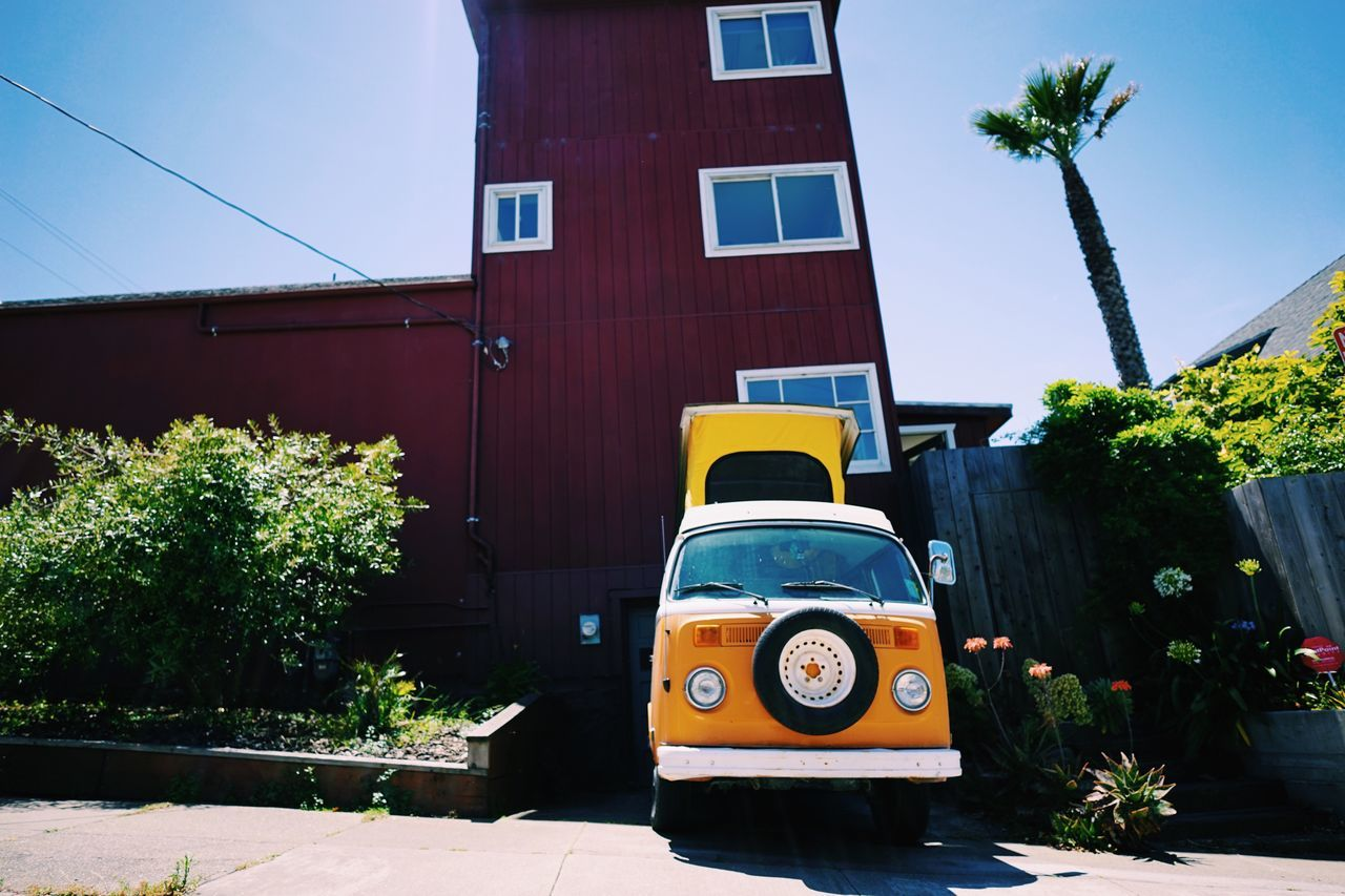 Very California // VW Bus Architecture Built Structure Building Exterior Tree Transportation Outdoors Day No People City Sky