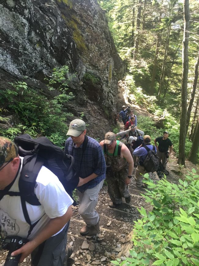 Birding hike on the trail to Alum Cave, Hikers GSMNP Trail Great Smoky Mountains
