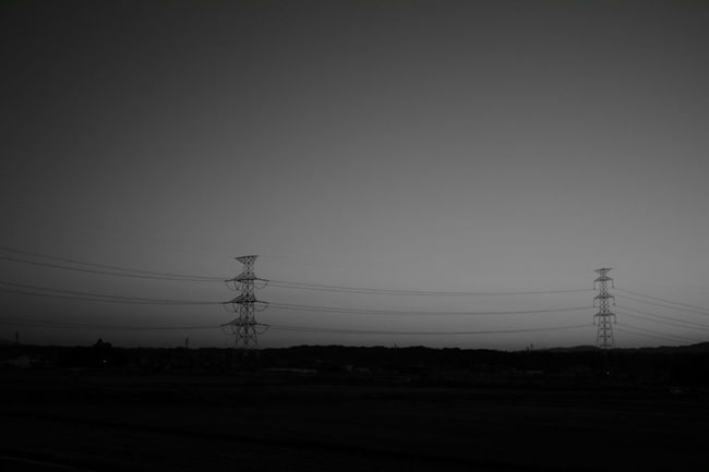 Landscape Electricity Tower Outdoors Sky No People Power Line  Electricity  Power Supply Monochrome Photography Black And White Photography Fujifilm X-Pro1 Black And White Leica Lens Black And White Collection  EyeEm Best Shots - Black + White Avenon 28mm F3.5 LTM Japan Photography Dusk Sky Dusk Dark Sky Day