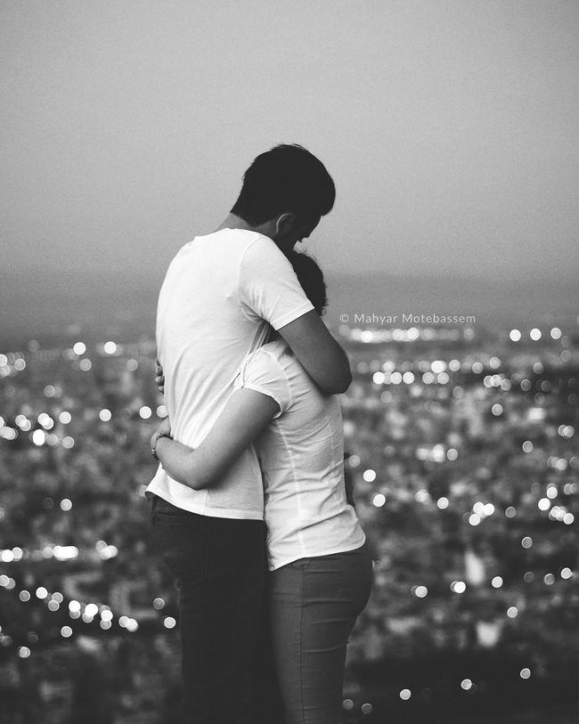 Monochrome Photography Couple Feelings Moody City Hug Bokeh Love Cuddle