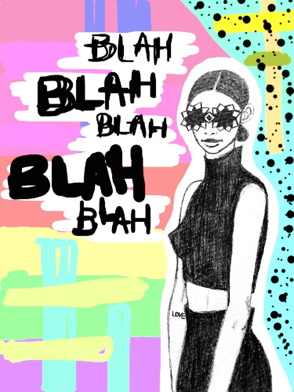 Text Multi Colored Text Drawing - Activity Illust Illustration Illustrator Drawing Draw Painting Paint Fashion Fashionable Fashion Photography Fashion Illustration Sunglasses Blah Imagination Image Sketch Pencil Pencil Drawing Illustrations  Pencilart Pencil Art